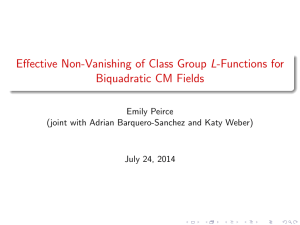 Effective Non-Vanishing of Class Group L-Functions for Biquadratic CM Fields Emily Peirce