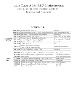2015 Texas A&M REU Miniconference July 20–21, Blocker Building, Room 457 SCHEDULE