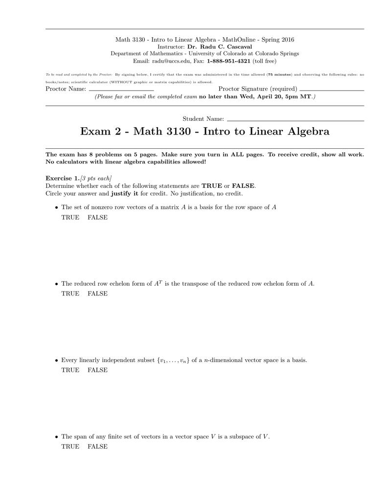 Math 3130 - Intro to Linear Algebra - MathOnline -...