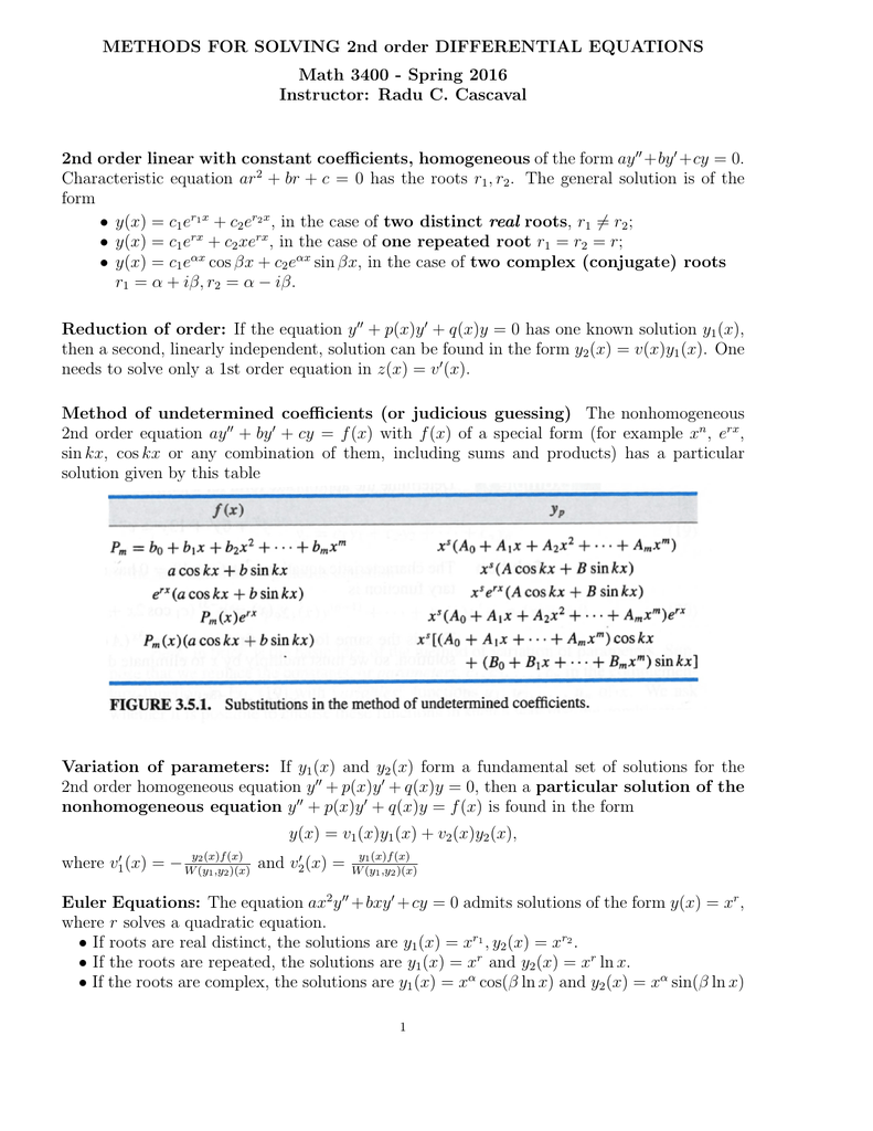METHODS FOR SOLVING 2nd order DIFFERENTIAL EQUATIONS