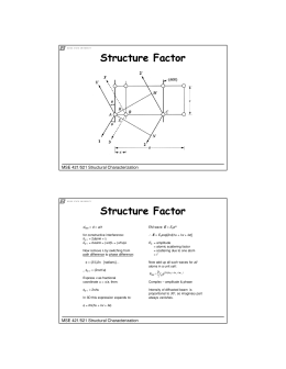 Structure Factor MSE 421/521 Structural Characterization