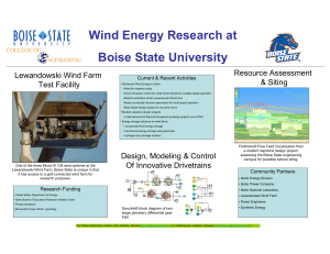 Wind Energy Research at Boise State University Current & Recent Activities