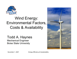 Wind Energy: Environmental Factors, Costs Availability