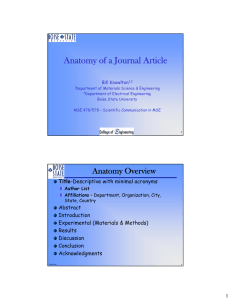 Anatomy of a Journal Article Bill Knowlton