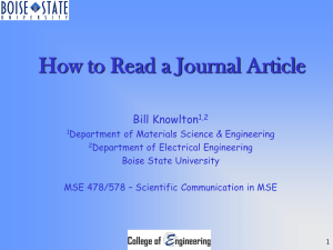 How to Read a Journal Article Bill Knowlton
