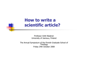 How to write a scientific article?