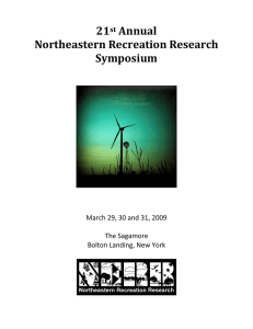 21  Annual  Northeastern Recreation Research  Symposium