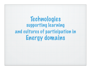 Technologies  Energy domains supporting learning