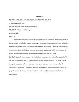 RESEARCH PAPER: BIKE LANES: POLICY, IMPACT, AND IMPLEMENTATION STUDENT: Zachariah Webb