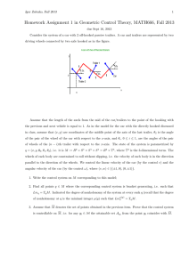 Homework Assignment 1 in Geometric Control Theory, MATH666, Fall 2013