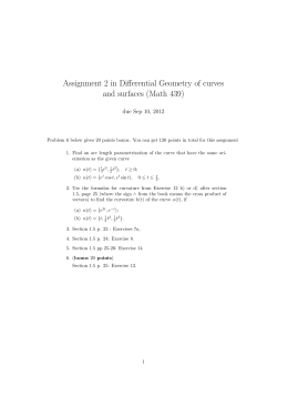Assignment 2 in Differential Geometry of curves and surfaces (Math 439)