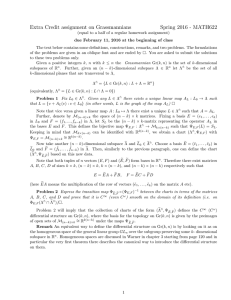 Extra Credit assignment on Grassmannians Spring 2016 - MATH622