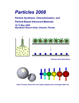 Particles 2008 Particle Synthesis, Characterization, and Particle-Based Advanced Materials