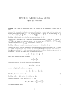 MATH 151 Fall 2014 Sections 549-551 Quiz #1 Solutions