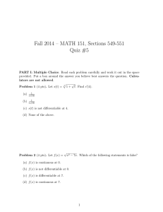Fall 2014 – MATH 151, Sections 549-551 Quiz #5
