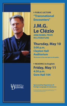 J.M.G. le clézio thursday, May 10 Friday, May 11
