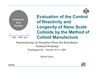 Evaluation of the Control of Reactivity and Longevity of Nano Scale