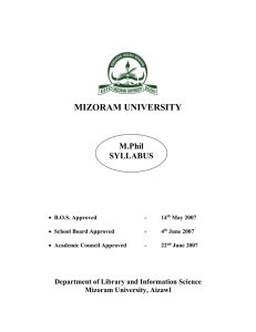 MIZORAM UNIVERSITY M.Phil SYLLABUS
