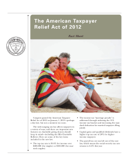 The American Taxpayer Relief Act of 2012 Fact Sheet