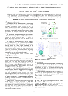 3D wake structure of zigzagging or spiraling bubble by Digital... Yoshiyuki Tagawa