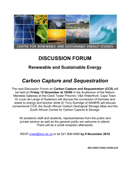 DISCUSSION FORUM Carbon Capture and Sequestration Renewable and Sustainable Energy