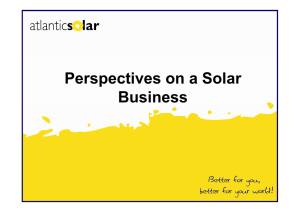 Perspectives on a Solar Business
