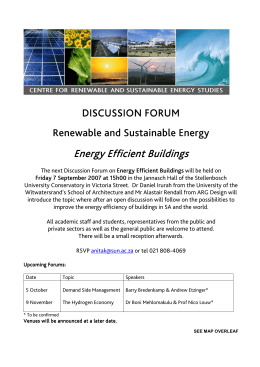DISCUSSION FORUM Renewable and Sustainable Energy