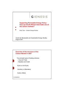 Supporting Renewable Energy Policy: the carbon markets?