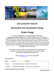Ocean Energy DISCUSSION FORUM Renewable and Sustainable Energy