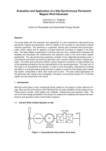 Evaluation and Application of a Slip-Synchronous Permanent Magnet Wind Generator Stellenbosch University