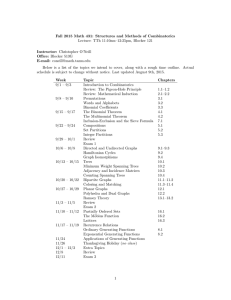 Fall 2015 Math 431: Structures and Methods of Combinatorics