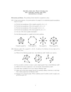 Fall 2015, Math 431: Week 5 Problem Set Introduction to Graphs