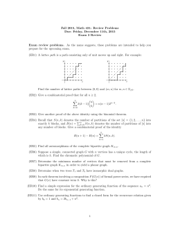 Fall 2015, Math 431: Review Problems Due: Friday, December 11th, 2015