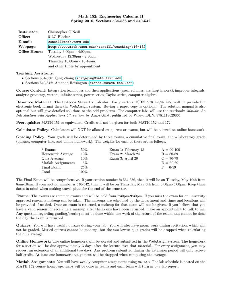 Math 152: Engineering Calculus II Spring 2016, Sections 534