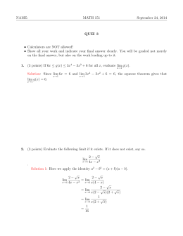 NAME: MATH 151 September 24, 2014 QUIZ 3