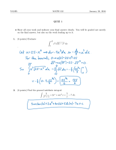 NAME: MATH 152 January 28, 2016 QUIZ 1