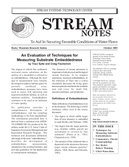 STREAM NOTES To Aid In Securing Favorable Conditions of Water Flows