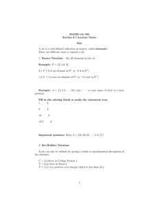 MATH 141 501 Section 6.1 Lecture Notes Sets