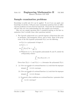 Engineering Mathematics II Sample examination problems Honors Sections 819–820