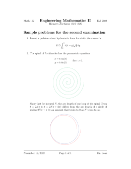 Engineering Mathematics II Sample problems for the second examination Honors Sections 819–820