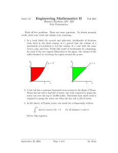 Engineering Mathematics II Honors Sections 201–202
