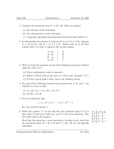Math 220 Examination 1 September 26, 2003 1. Consider the statement form