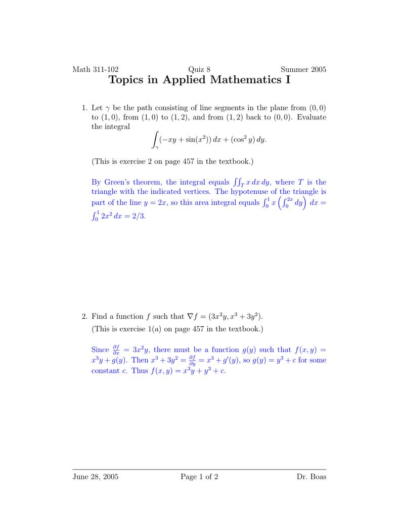 Applied math. Part 1: Integral