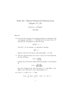 Math 222 - Selected Homework Solutions from Chapter 5.5, 5.6.