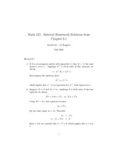 Math 222 - Selected Homework Solutions from Chapter 6.1
