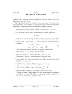 Advanced Calculus I