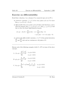 Exercise on differentiability