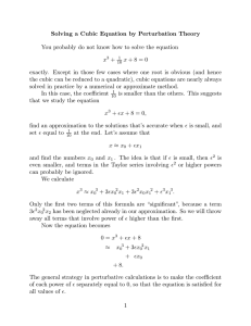 Solving a Cubic Equation by Perturbation Theory +