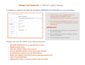Change Your Password   | TOPCAT Library Catalog
