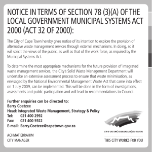 NOTICE IN TERMS OF SECTION 78 (3)(A) OF THE